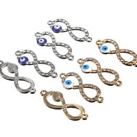10X Crystal Eye 8 Shaped Charm Connector Beads Fit DIY Bracelet Making Craft