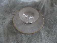 GORGEOUS ANTIQUE Clear Glass Chip And Dip Set  Raised Etching + Gold Trim