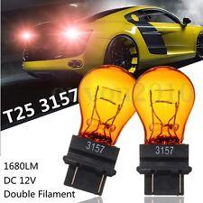2x T25 3157 Amber Yellow Glass Halogen Brake Stop Light Turn Signal Lamp Bulb
