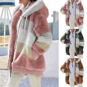 Womens Teddy Bear Fluffy Coat Fleece Hooded Jacket Zipper Warm Matching Outwear