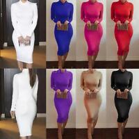 New Women Warm Long Sleeve Casual Turtleneck Midi Bodycon Bandage Dress Clubwear