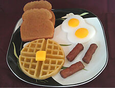 Breakfast Set, Wax, Waffle w/Butter Pats, Sausage, Eggs, Toast, Props