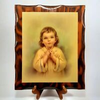 Vintage Praying Child Picture on Wood Christianity Spiritual Wall Decor Plaque