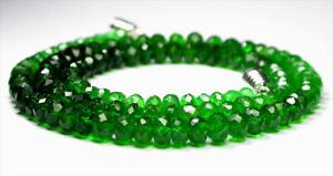 "74.20 carats NATURAL GREEN TSAVORITE GARNET FACETED BEADS NECKLACE STRAND 16"""