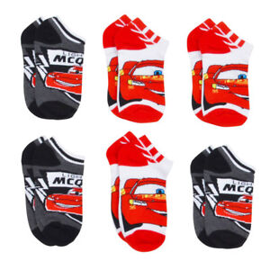 6 PAIR DISNEY CARS 3 LIGHTNING MCQUEEN Boys Socks Size 6-8 Shoe Size 10.5-2.5