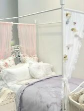 $275 Shabby Purple Chic Lace Velvet Queen King Bed Quilt Lavender Bedspread