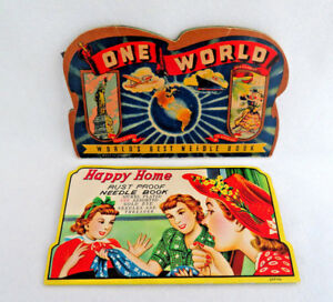 2 Antique Vintage Needle Books ~ ONE WORLD & HAPPY HOME ~ Great Graphics