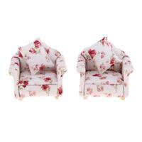 2 PCS 1/12 Flower Single Sofa Cushions Couch Dollhouse Miniature Furniture
