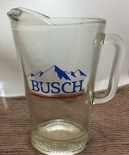 Vintage Busch Heavy Glass Beer Pitcher With Blue Mountain Logo. Very Cool!!