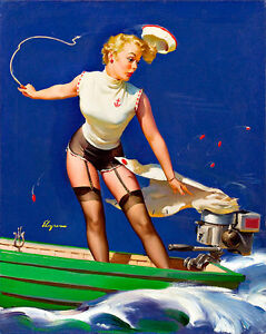 A Fast Take Off Pinup A3 by Gil Elgren High Quality Canvas Art Print