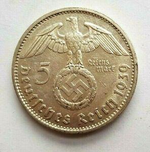 1939 G 5 Mark German WW2 Silver Coin XF+ , Swastika , RRRARE!