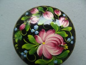 Ukrainian Wooden Hand-Painted Laquer Box for Jewelry, 3 inches wide