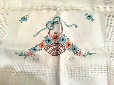 Satin basket embroidered Victorian type lattice weave linen tablecloth vtg