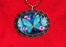 BUTTERFLY BLUE PINK FLOWER ART PENDANT NECKLACE