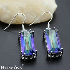 Facet Mystical Fire Topaz Fashion Gift 925 Sterling Silver Earrings