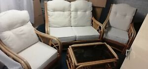 Cane bamboo Wicker sofa 2 chairs glass Table boho Conservatory Vintage vgc