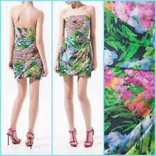 ZARA WOMEN Multi-Color Pink Green Floral Print Tulip Strapless Dress- Size  M