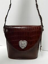 Brighton Vintage Brown Croc Leather Western Shoulder Bag