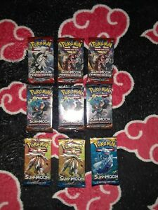 Pokemon XY Booster Sun and Moon Crimson Invasion Burning Shadows lot of 9