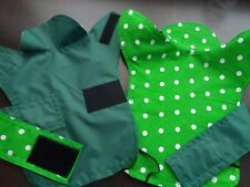Size XXS Waterproof dog coat. Green with green and white spots polycotton