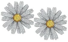 925 Sterling Silver CZ Stud Earrings Flower Yellow White Round Women Handmade