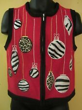 Bechamel Ugly Christmas Sweater Vest Red Animal Print Ornaments Full Zip Size PS