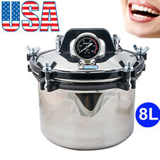 NEW 8L Portable Steam Autoclave Sterilizer Dental Equipment Stainless Steel Seal
