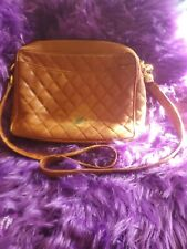 SUPER RARE Authentic Vintage Brown Chanel Quilted Caviar Shoulder Bag ink stain