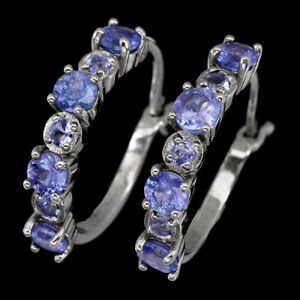 Unheated Round Tanzanite 4mm 14K White Gold Plate 925 Sterling Silver Earrings