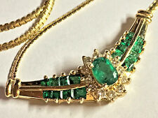 Solid 14K Yellow Gold ADL NATURAL Green Emerald & Diamond ITALY Necklace 16""