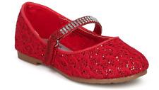 New Girls Black Red Glitter Dress Shoes Flats Christmas Rhinestones kids Youth