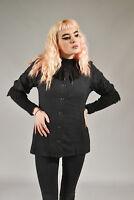 Vintage Charcoal Grey Gothic Frilled Shirt (S)