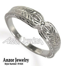 18k Solid White Gold Wedding Band Ring #R1525