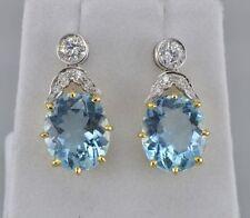 Aquamarine Yellow Gold Vintage Fine Earrings