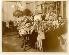 "Antique Postmortem Casket Coffin & Flowers Funeral Real Photo Large 9"" X 7"""