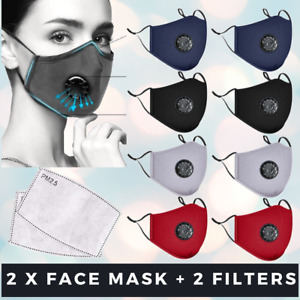 2 x Washable Face Mask Mouth Reusable Anti Pollution Cotton Masks PM 2.5 Filter