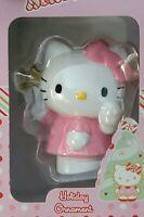 2004 Sanrio Hello Kitty Blown Glass Christmas Holiday Ornament White Pink 019110