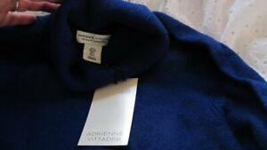"luxury 100% cashmere Adrienne Vittadini polo neck JUMPER navy blue L 38"" bnwt"