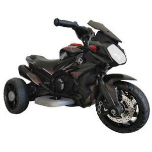 Moto Motocicletta Elettrica Bambini 6V Triciclo 3 Ruote con MP3 Luci Suoni Nero