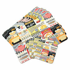 Set of 4 Placemats & Coasters Table Place Settings Mats Retro Breakfast Diner