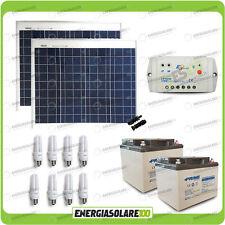 Kit solare illuminazione 5 ore pannelli 100W 24V 8 lampade fluorescenti 7W 24V s