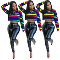 ❤❤ Women Sexy Long Sleeve Colorful Stripe Print Casual Club T-shirt Crop Tops ❤❤