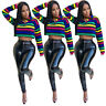 Women Sexy Long Sleeves Colorful Stripes Print Casual Club  Crop Tops Shirt