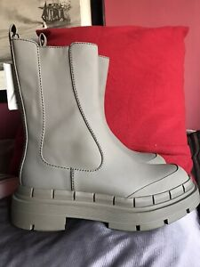 Zara Khaki Ankle Boots With Track Chunky Sole Size 7 / 40