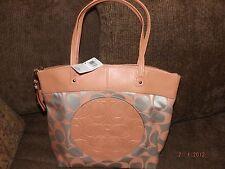 Coach F18335  Laura Signature Tote Bag Light Khaki/Peach Canvas Leather NWT