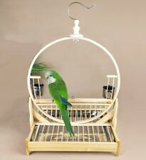 Bamboo Parrot Stand Rack Perch Bird Play Activity Toy Stainless Steel Tray Cup