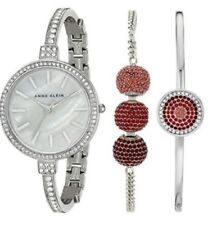 Anne Klein Womens Swarovski Crystal Accented Silver Tone Bangle Watch & Bracelet