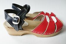 Sven Liberty Wooden Sandals Stapled Clogs Swedish Hasbeens Leather 40 10