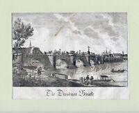 """""""Die Dresdner Brücke"""" (Augustusbrücke) Anonyme Radierung auf Bütten um 1760"""