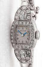 Vintage 1950s $5000 ELGIN 14k White Gold 1.50ct VS G Diamond Ladies Watch WTY